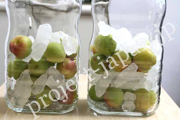 2. Stuff ume and crystal rock sugar alternately. * when you make holes on the surface, its essence is extracted soon but the liquid is likely to become cloudy.