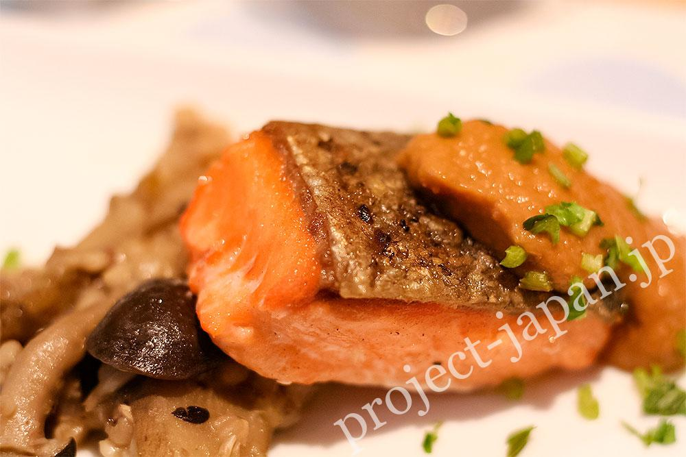 Grilled Shinshu-Salmon with buckwheat and mushrooms