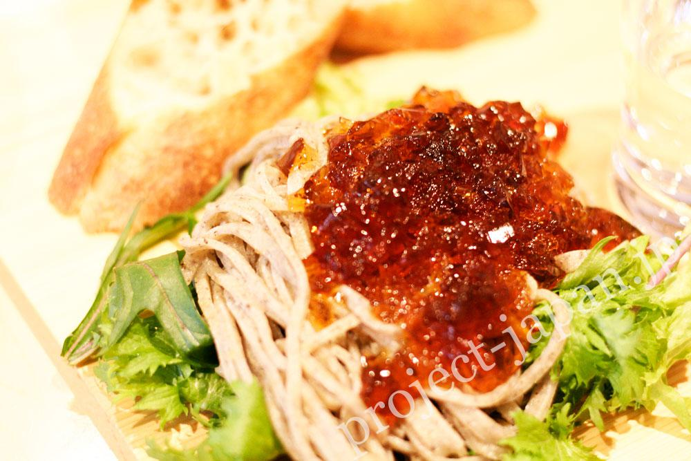 Soba (buckwheat) made in Takayama village with salad and jelly of soba sauce